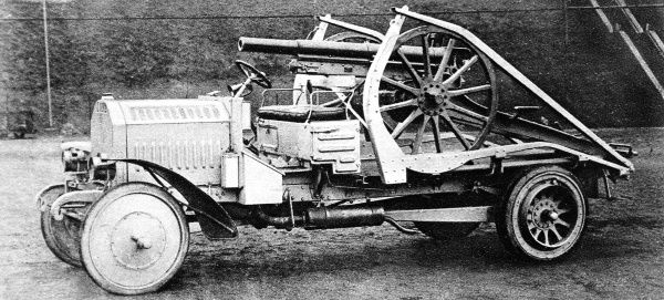 The German use of motor traction for field artillery: A specially designed car for conveying a light gun