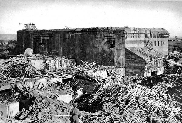 Photograph showing the huge concrete bunker of the German V-2 base at Watten, near St