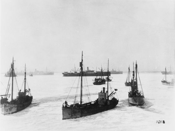 German fleet in the channel at Hango/Tammisaari in Finland during World War I
