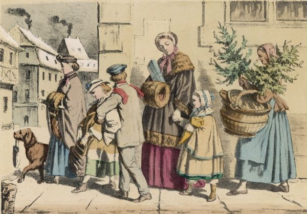 DER WEINACHTSABEND Christmas Eve, and a German family return home with presents, the maid carries two trees and big basket, and even the dog helps !