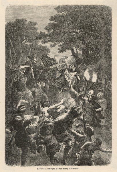 A column of Romans is ambushed by Germans concealed in a forest