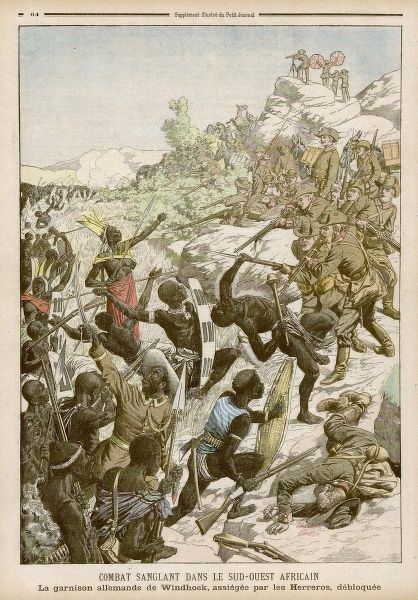 The German garrison at Windhoek in present-day Namibia (then German South- West Africa) is attacked by warriors of the Herrero people