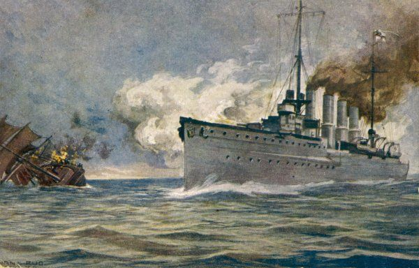 The German warship 'Karlsruhe' sinks a French sailing ship in the Atlantic