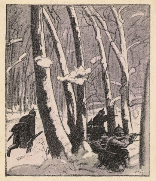 German infantry advancing in a wood through the snow