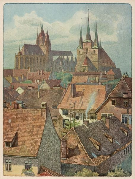Erfurt: cathedral and rooftops