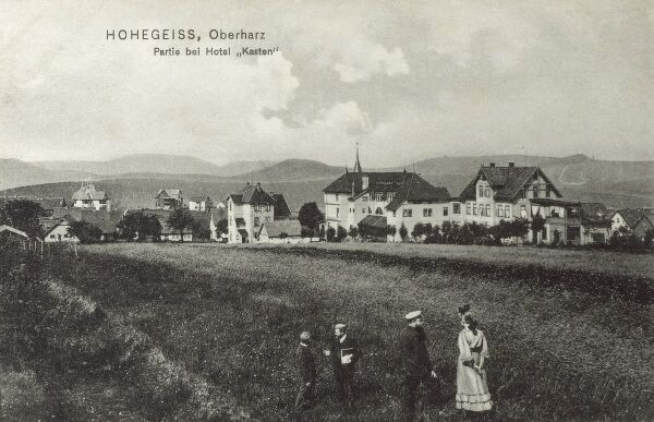 Germany - Hohegeiss - a health resort and winter sports village in the Harz Mountains between Braunlage and Benneckenstein - View toward the Kasten Hotel. Date: circa 1907