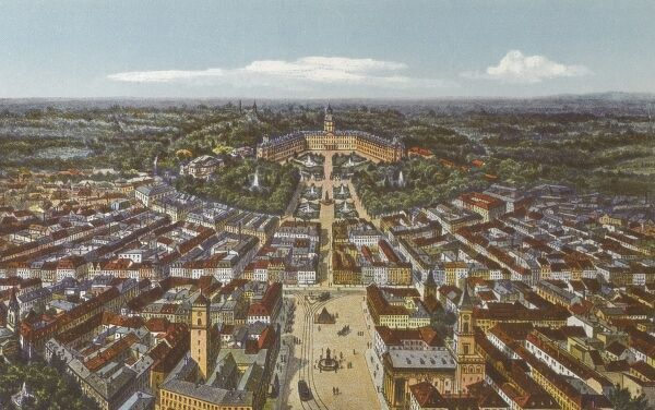 Panoramic view of the German city of Karlsruhe Date: circa 1910s