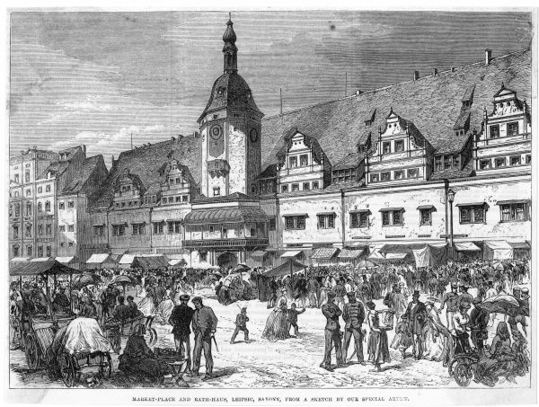Market place and Rathaus. Date: circa 1860