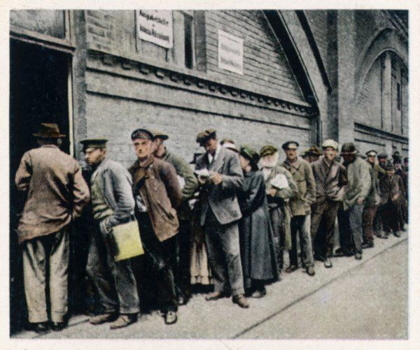 The poor queue at a state soup kitchen - a symptom of inflation