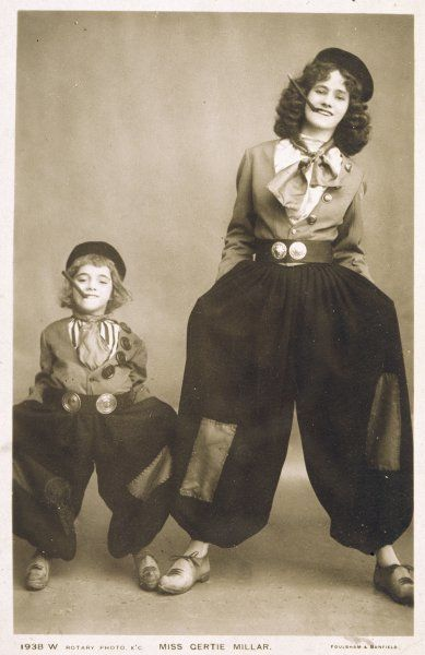 GERTIE MILLAR Actress as she appeared in 'Miss Hook of Holland' - seen here with a young fellow-thespian