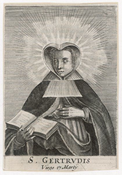 saint GERTRUDE DE NIVELLES Flemish nun who manifested many miracles, including a ball of fire which descended on her head while she was in a rapture