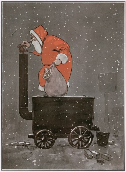 A Teddy Bear For The Tar Baby. Illustration showing Father Christmas disposing his excess toys in a tar maker