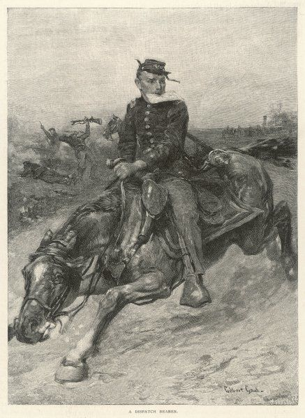 Communication during the battle is effected by dispatch bearers riding through the battle from one commander to another