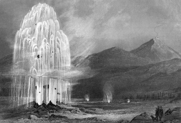 The great geyser of Hekla (or Hecla), one of several associated with this volcano. Date: 1850