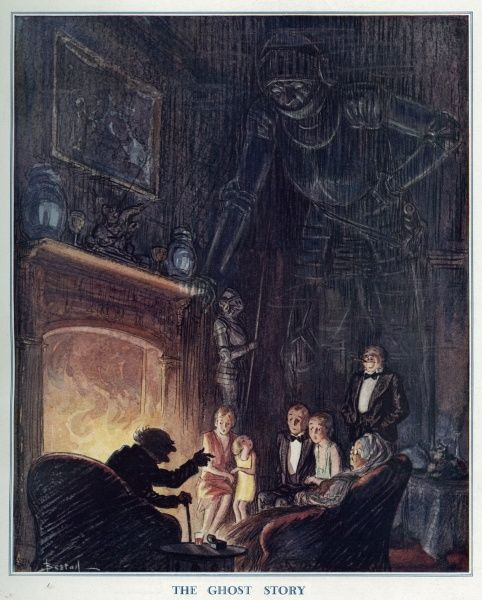 A family sit in the dark by a blazing fire, rigid with fear while listening to a ghost story told by an aged relative. Meanwhile, unbeknownst to them, the sceptre of a medieval knight, looms over them with interest. Illustration by Alfred Bestall