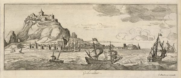 A fine early engraving of Gibraltar, at a time when the French and Spanish were casting covetous eyes on the rock, but the English had yet to take it under their wing