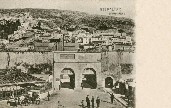 Gibraltar - The Market Place. This card was posted in Morocco