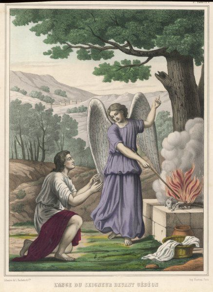 He asks God for a sign that he will have heavenly support against the Midianites : an angel shows him a sacrificial lamb which bursts into flame with divine fire