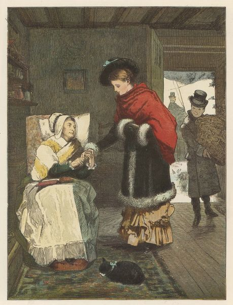 The visit to the cottage - the lady of the manor greets her bible-reading cottage tenant, while her page carries in a hamper of good things