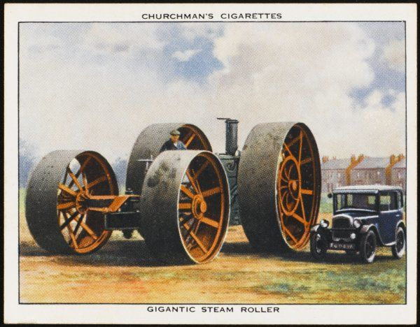 Gigantic steam roller for consolidating embankments