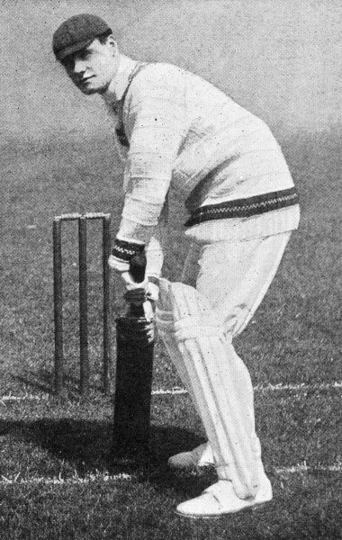 Photograph of Gilbert Jessop, the Gloucestershire and England batsman, who was famous for his feats of quick-scoring - he once scored a century in only 40 minutes