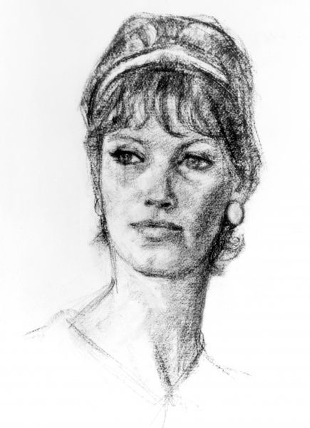 A drawing of the model and photographer Gill Emberton. Date: 1960s