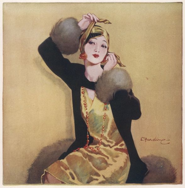 Illustration by Elsie Harding featuring a beautiful and elegant young woman with red hair just visible tying a bandeau style cloche hat in gold colours around her lovely head. A dress and overcoat in gold and black complete the outfit