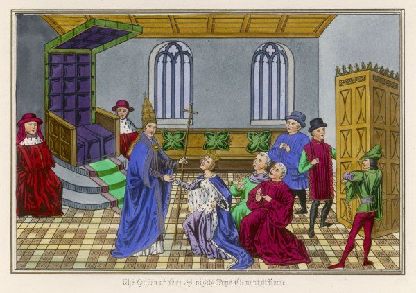 Giovanna de Napoli, unblest with an heir, surrenders her lands to Pope Clemens VI at Avignon, France