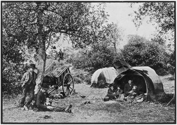 A gipsy encampment, with tents and a cart