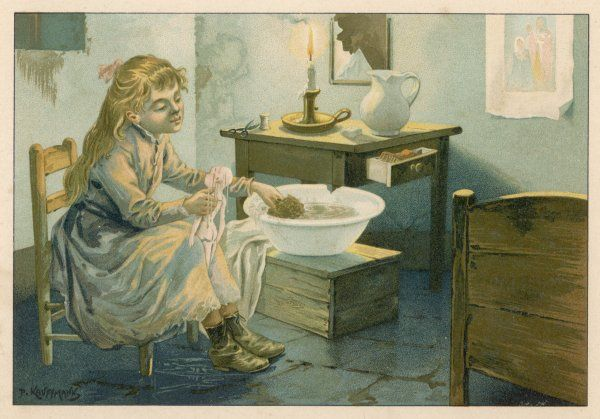 A girl bathes her doll in a cracked wash basin