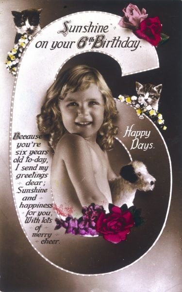 A birthday card for a six- year-old girl, with flowers, toy dog and kitten