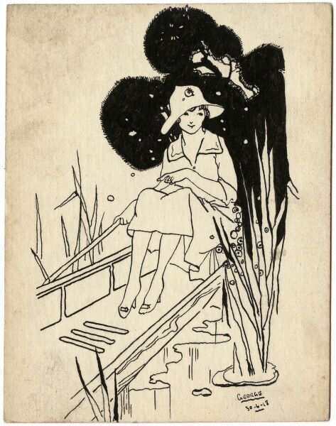 Charming illustration on a postcard by George Ranstead, an amateur artist of the Great War who served in the Army Pay Corps and who illustrated a large number of postcards during the period