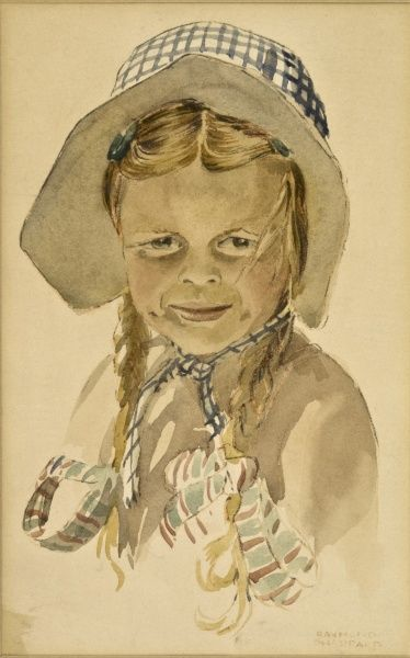 A young girl in blue check bonnet with her hair in pigtails and tied with ribbons. Watercolour study by Raymond Sheppard