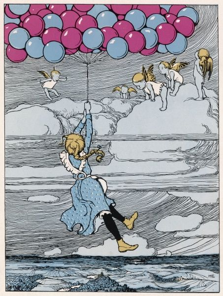 A girl is borne aloft by balloons. Date: 1902
