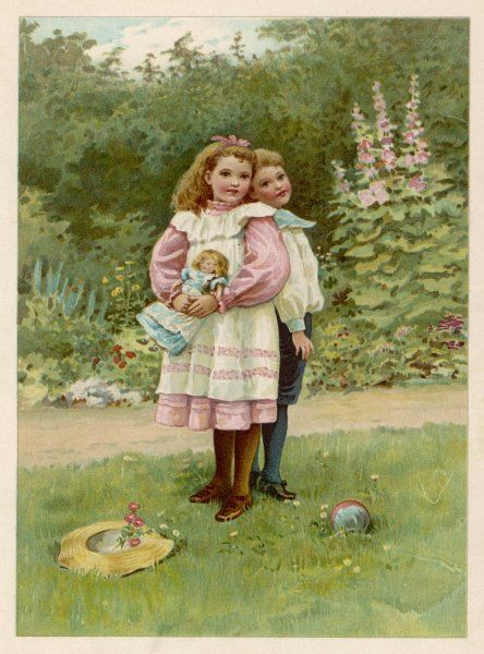 A girl and a boy in a garden, comparing their heights
