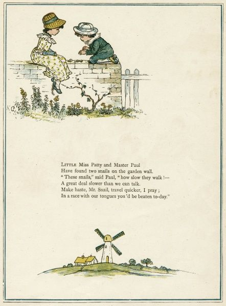 A girl and a boy, Patty and Paul, sitting on a garden wall, where they have found two snails. Below is a windmill.  first published 1879