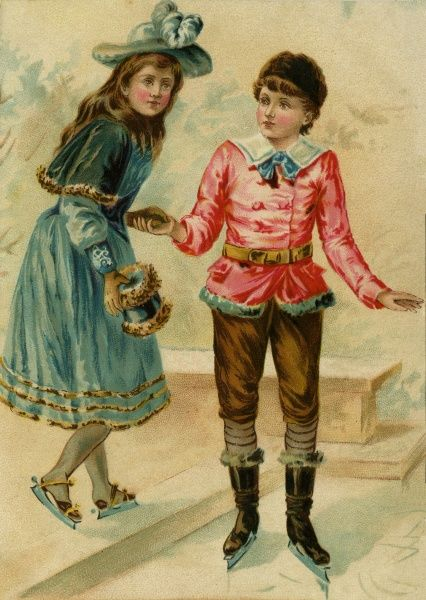 Girl and boy skating 19th century