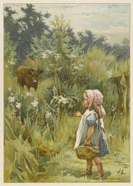 A small girl urges a cow to feed on yellow Cowslip and fine grass to help make her milk sweet to drink