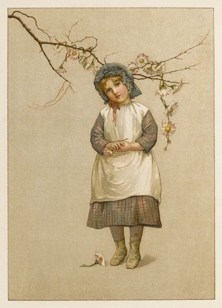 A little girl has draped a daisy chain on the bare branch of a tree