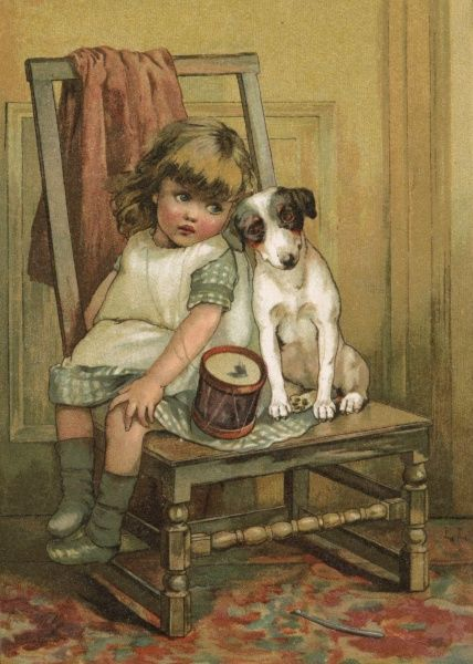 A little girl and her dog lament over a broken drum