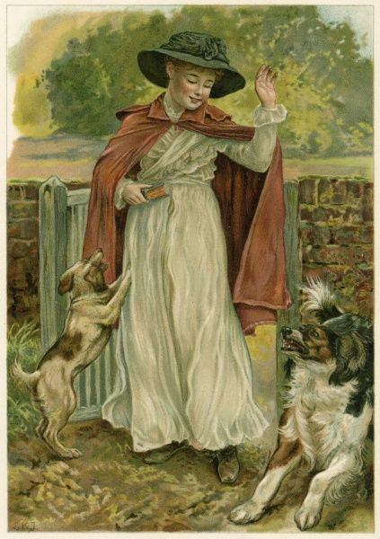 A girl in a red cloak, returning from church with her prayer book in her hand, is greeted enthusiastically by her two dogs. Date: 1890