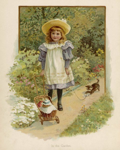 A girl takes her doll into the garden for an airing in her pram, while her kitten follows