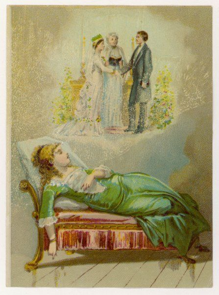 A fair haired maiden reclining on a day-bed sleeps and dreams of her wedding day where she stands with her betrothed and the parson at the altar. Will her dream come true?