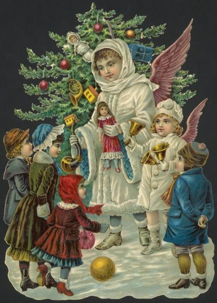 A girl dressed as an angel stands by a tree in the snow handing out gifts to children