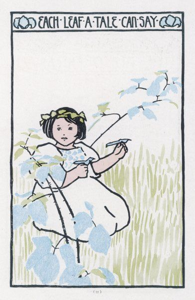 A little girl in a meadow: Each Leaf a Tale Can Say