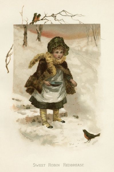 A kind-hearted girl goes out in the snow to feed a robin