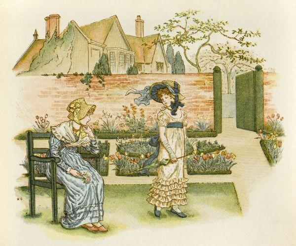 This young girl seems unimpressed with the fine display of Tulips in her garden. Mother sits and gazes at her