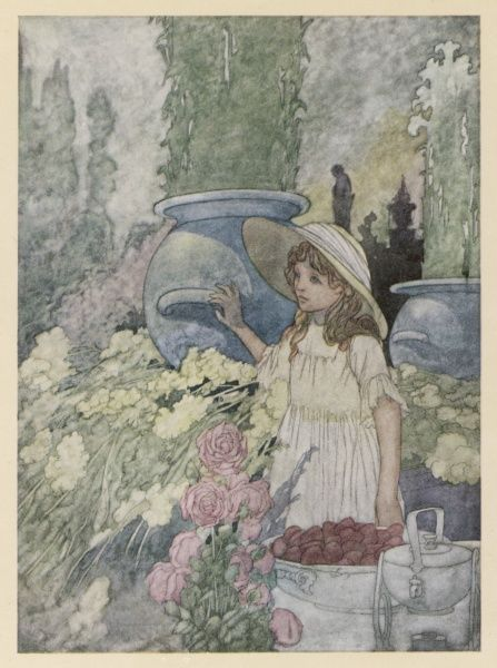 A young girl stands dreamily in a flower-filled garden