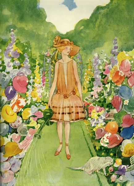 A girl in a wide brimmed hat and 1920s drop waisted dress, walks along the pathway of an abundant floral garden with a watering can