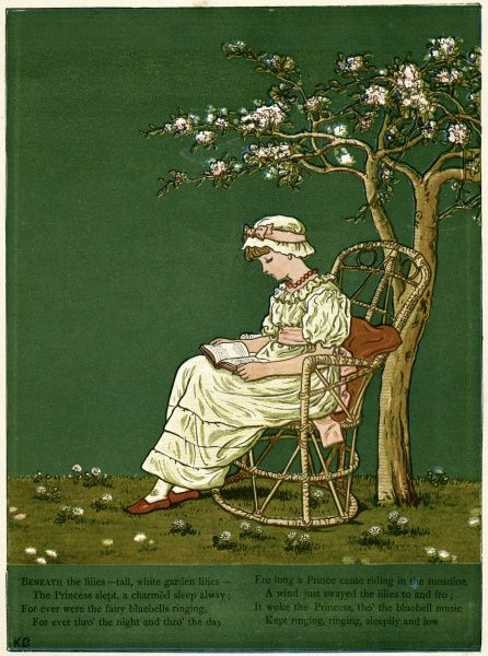 A young girl sitting in a garden, reading a book under a tree.  first published 1879
